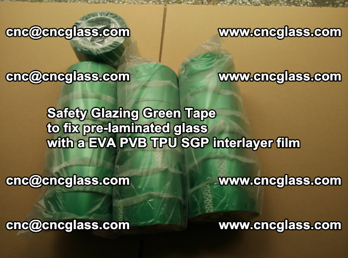 Safety Glazing Green Tape to fix pre-laminated glass with EVA PVB TPU SGP interlayer film (1)
